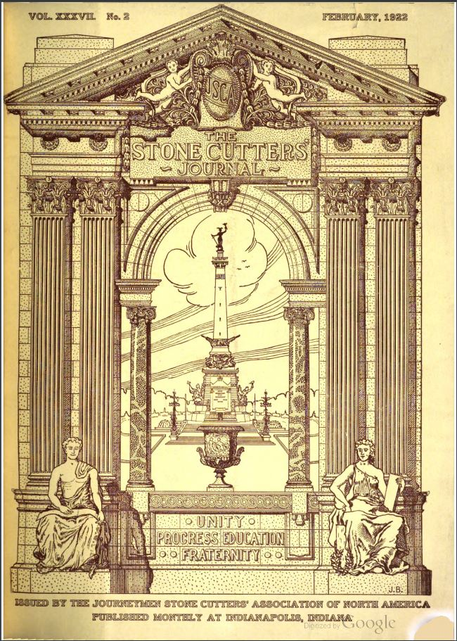 Cover of the February 1922 issue of the Stone Cutters' Journal.