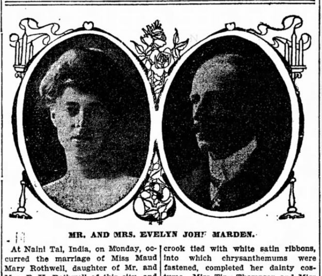 Detroit Free Press Wedding Announcement for Mr . and Mrs. Evelyn John Mardon.
