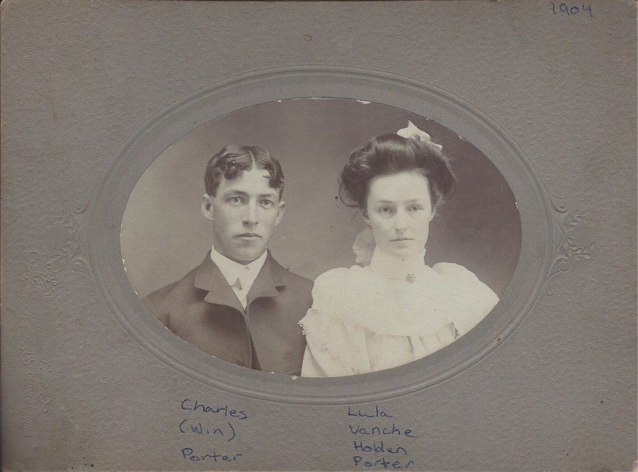 Matted black and white photograph of Charles and Lula Porter.