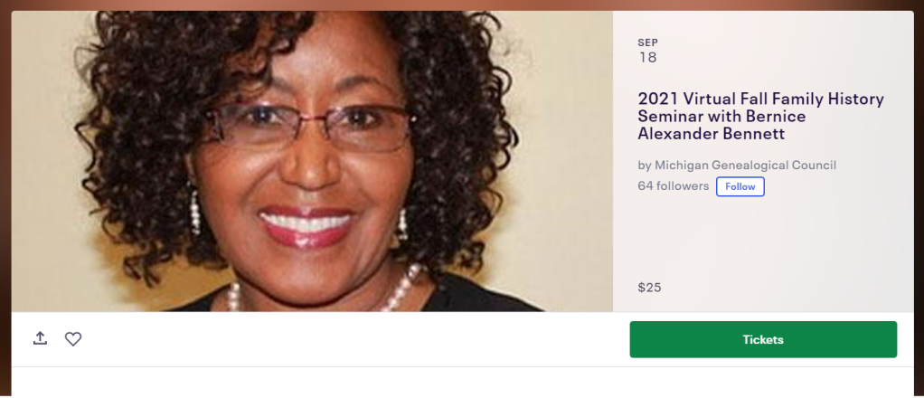 Clipped image from Event Page including Photo of Bernice Alexander Bennet, with date and cost information.